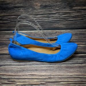 J Crew Cece Suede Leather Ballet Flats Blue sz 8